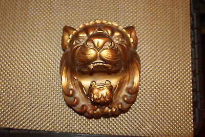 Heather Ann Lion Bust Curtain Rod Holder Tie Back #4 Rococo Wood USA Made