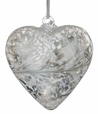 8cm Pastel Silver Hand Blown Friendship Heart Gift Boxed By Sienna Glass