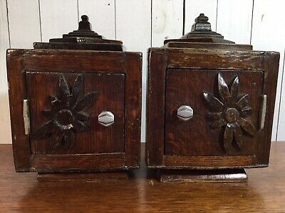 Pair Of Vintage Oak Wall Cabinets Cupboards Decorative Carved Rare