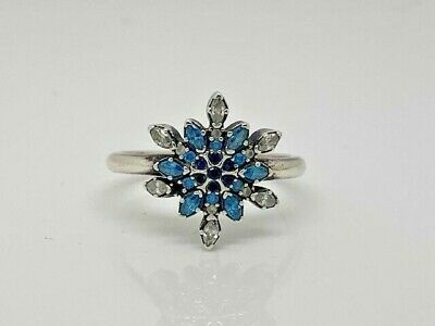 39f5b82d5 Authentic Pandora Crystallized Snowflake Blue CZ Ring 190969NBLMX SZ 58  RETIRED
