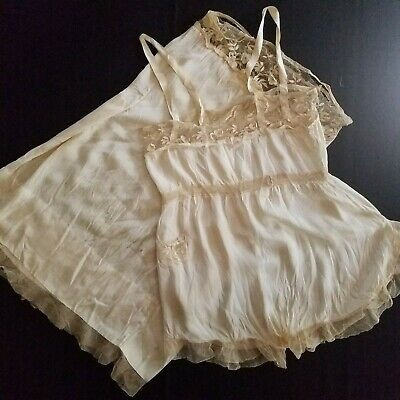 1920's Antique Silk Step-In Camisole with Matching Long Slip Wearable w/ Repair