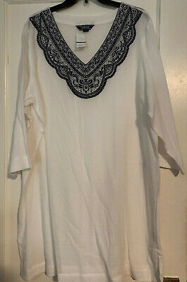 de2e14b0798 NEW Lands End Women's Embroidered Woven Tunic Cover-up White-XL Sold Out
