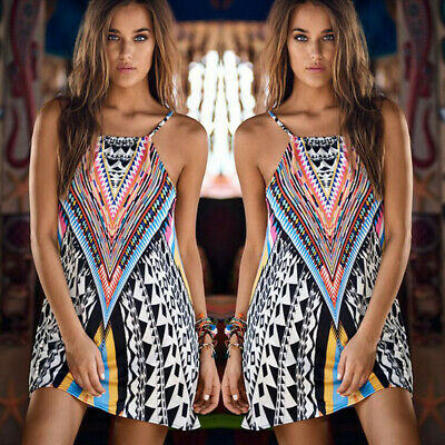 CA Sexy Women's Summer Boho Strappy Sexy Printed A-linen Party Beach Dresses