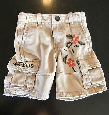 Baby Gap Boys Cargo Shorts Tropical Embroidered Size 3T Khaki Very Cool