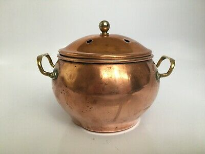 Vintage Copper Kettle Potpourri Bowl W/Brass Handles & Knob / 6 Holes On Lid