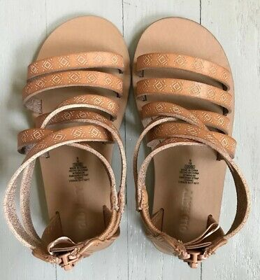 FADED GLORY Size 8,9,10,11 Toddler//Youth Girl/'s Gladiator Premium Tan Sandals