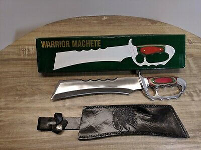 Warrior Machete, Multicolor Wood Handle With Black Leather Sheath