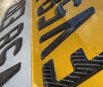 3d Carbon Fibre Resin Gel Registration Plate . Pair
