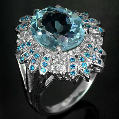 925 Silver 4.4ct Aquamarine Women Fashion Natural Wedding Ring Jewelry Size 6-10
