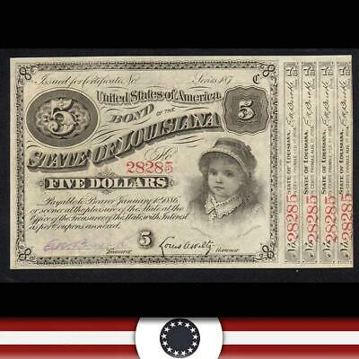 187_ $5 STATE of LOUISIANA BABY BOND *4 COUPONS*  28285