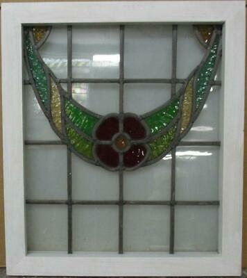 "OLD ENGLISH LEADED STAINED GLASS WINDOW Pretty Floral Swag 18.25"" x 20.75"""