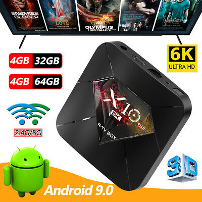 Lot LCD 6K Smart TV Box Android 9.0 X10 PLUS 4+32G 4+64G WiFi H6 Quad Core New