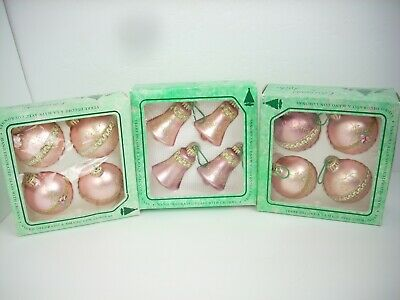 Vintage Christmas by Krebs Hand Decorated Glass Ornaments Lot of 12 Pink