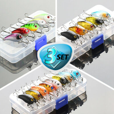 Fishing Lures Kit Treble Hooks Crankbait Tackle Bass Minnow Baits + Fishing Box