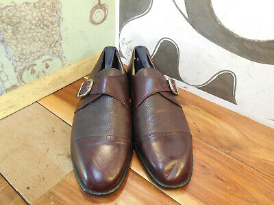 Vito Rufolo Brown Leather Cap Toe Monk Strap Loafers Men's 8.5M Made in Italy