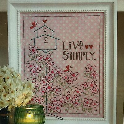 Live Simply embroidery stitchery PATTERN Leanne's House handmade gift