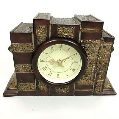 Bronze Mantle Quartz Clock Books Bookends Ceramic Shelf Brown Analog