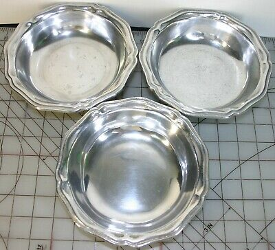 Vintage Wilton Rwp Armetale Pewter Ware Columbia  Polished Queen Anne Soup Bowls