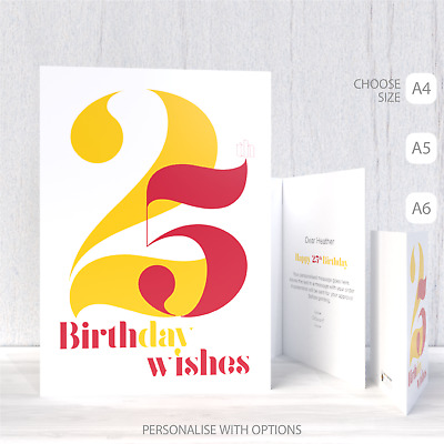 25th Birthday Wishes Card For Her Him 25 Man Woman Friend