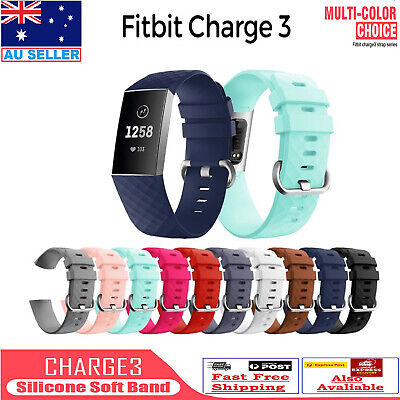Fitbit Charge 3 Bands Soft Silicone Adjustable Replacement Watch Belt wristband