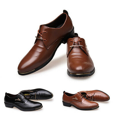 Homme Business Robe Pointu Orteils PU Cuir Oxford Lacets Chaussures