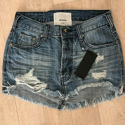 4dc7a50cbf One Teaspoon JUNKYARD Mini Skirt Orig Blue Jeans 22 29 30 32 Low Trashed NWT