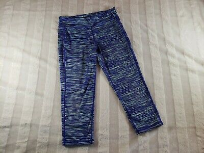 Girls Old Navy Active Capri Leggings Yoga Pants Go Dry Purple Green Striped 14