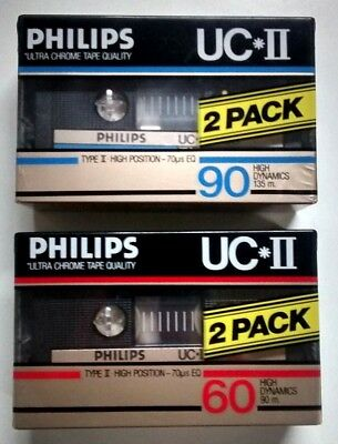 2 x UC II 90 + 2 x UC II 60 PHILIPS sealed Type II Chrome K7 Cassette blank new