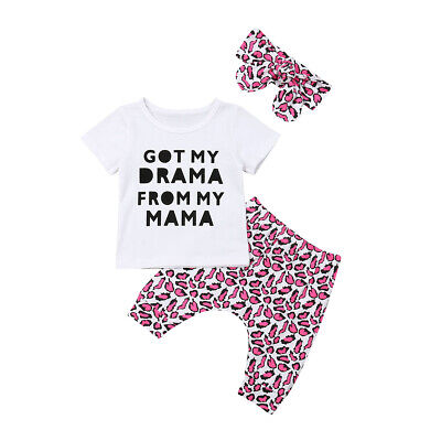 Sweet Newborn Baby Girl Infant Clothes Top T-shirt Leopard print Pants Outfit UK