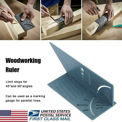 USA Woodworking Ruler 3D Mitre Angle Measuring Gauge Square Size Measure Tool