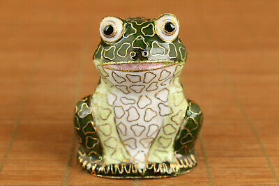 lovely Old chinese cloisonne hand painting frog statue figure table decoration
