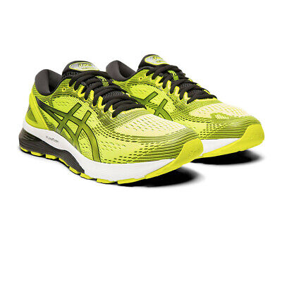 ASICS MENS GEL NIMBUS 21 Running Shoes Trainers Yellow Sports Breathable