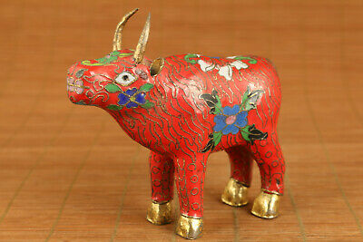 Old chinese cloisonne hand painting ox flower statue figure home decoration