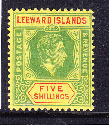 LEEWARD IS GVI 1951 SG112c 5/- bright grn & red on yellow chalky paper m/m cv£65
