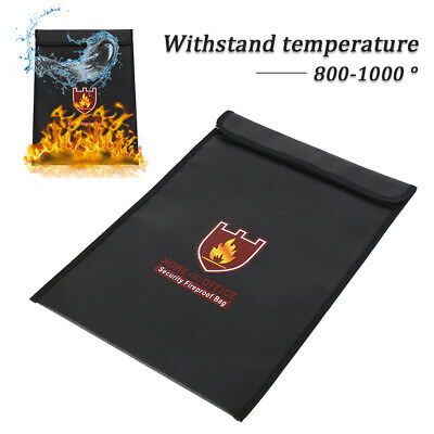 Fireproof Water Resistant Money Cash Bag Envelope File Safe Document Pouch UK01