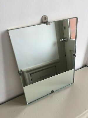 1940s 1950s Small Vintage Frameless Wall Mirror Old Simple Scandi 25x20cm m236