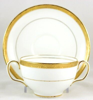 4 Sets Gold Encrusted Bouillon Cream Soup Bowls & Saucers Fab Minton China H1886