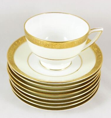 2 Sets Raised Gold Encrusted Cups & Saucers Minton Bone China Westminster K154