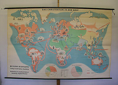 Schulwandkarte Beautiful Old World Map Religion 237x157 Vintage~1959