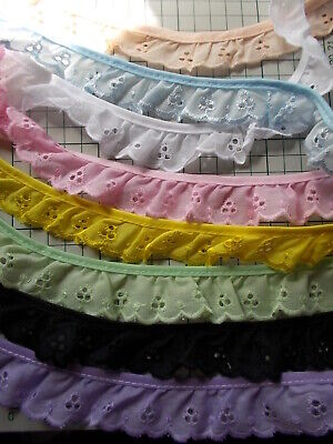 Broderie  Anglais Gathered Lace  -choose Pink, White, Black, Yellow,Peach Green