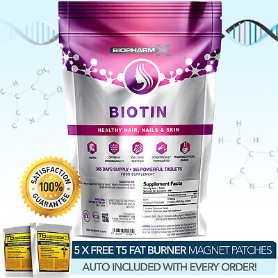 Biotin -Strongest Legal -365 Tablets X 10,000Mcg - Improve Hair Skin & Nails ++