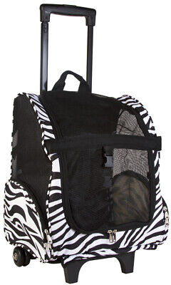 Pet Backpack Carrier Wheeled Travel Dog Cat Small Black Canvas Puppy Kitty Zebra