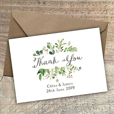 Personalised Rustic Thank You Cards/Postcard,Wedding,Green floral Packs of 10