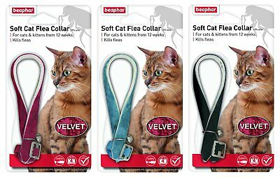 Beaphar Velvet Soft Cat Flea Collar 4 Month Protection 3 Colours With Bell 17805