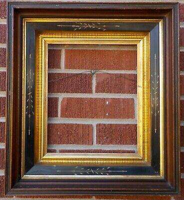 Antique Victorian EASTLAKE Walnut Black Stenciled GOLD Picture Frame 10 x 12 in.
