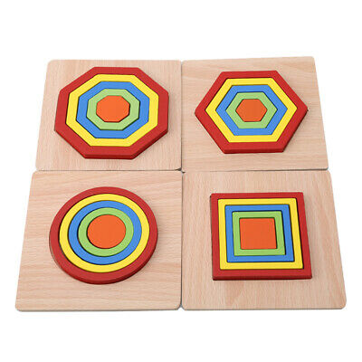 Wooden Geometry Shape Block Puzzle Multicolor Toddlers Early Educational Toys 6A