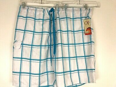 e3b839487945 OP Ocean Pacific Trunks Plaid Board Big Shorts Blue White Swim 4XL (52-54