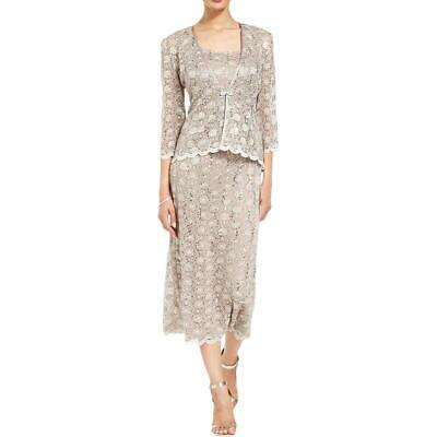 47297d89 R & M Richards Womens Beige 2PC Lace Sequined Dress With Jacket 14 BHFO 3968