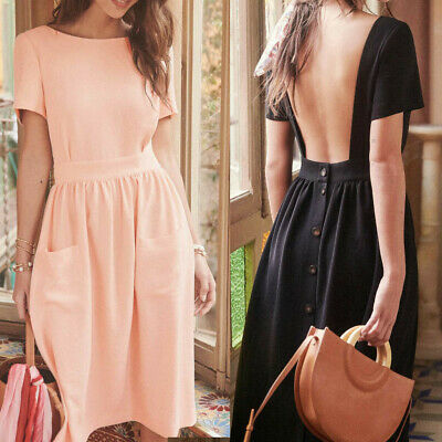 Women's Fashion Summer Casual Sexy Knee-Length Backless Button Solid Dress CA