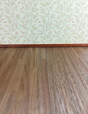 "Dollhouse Miniature Dark Real Wood Flooring 3/8"" Wide Planks 1:12 Scale 17 x 11"